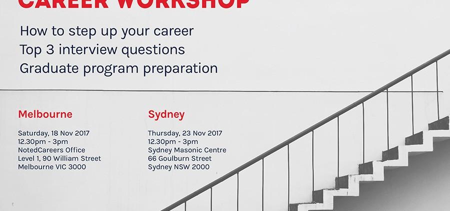 November 2017 Career Workshops - Melbourne & Sydney